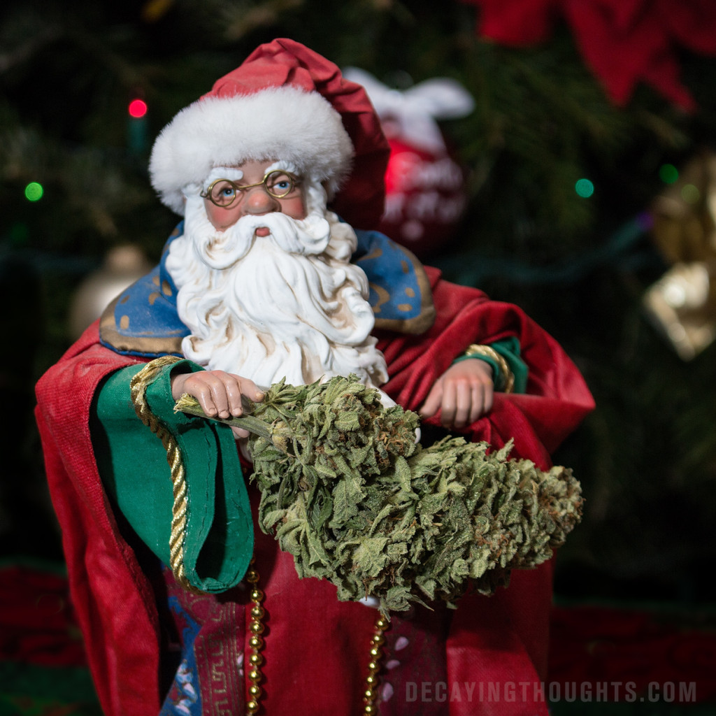 Santa Claus as a wizard with huge weed bud