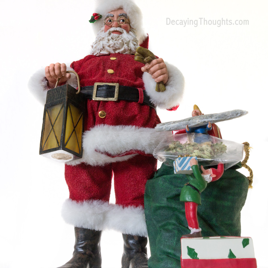 Santa loading last minute gifts.