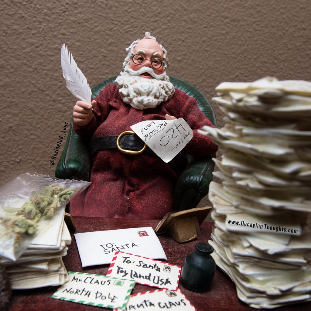 Santa reading letter and responding