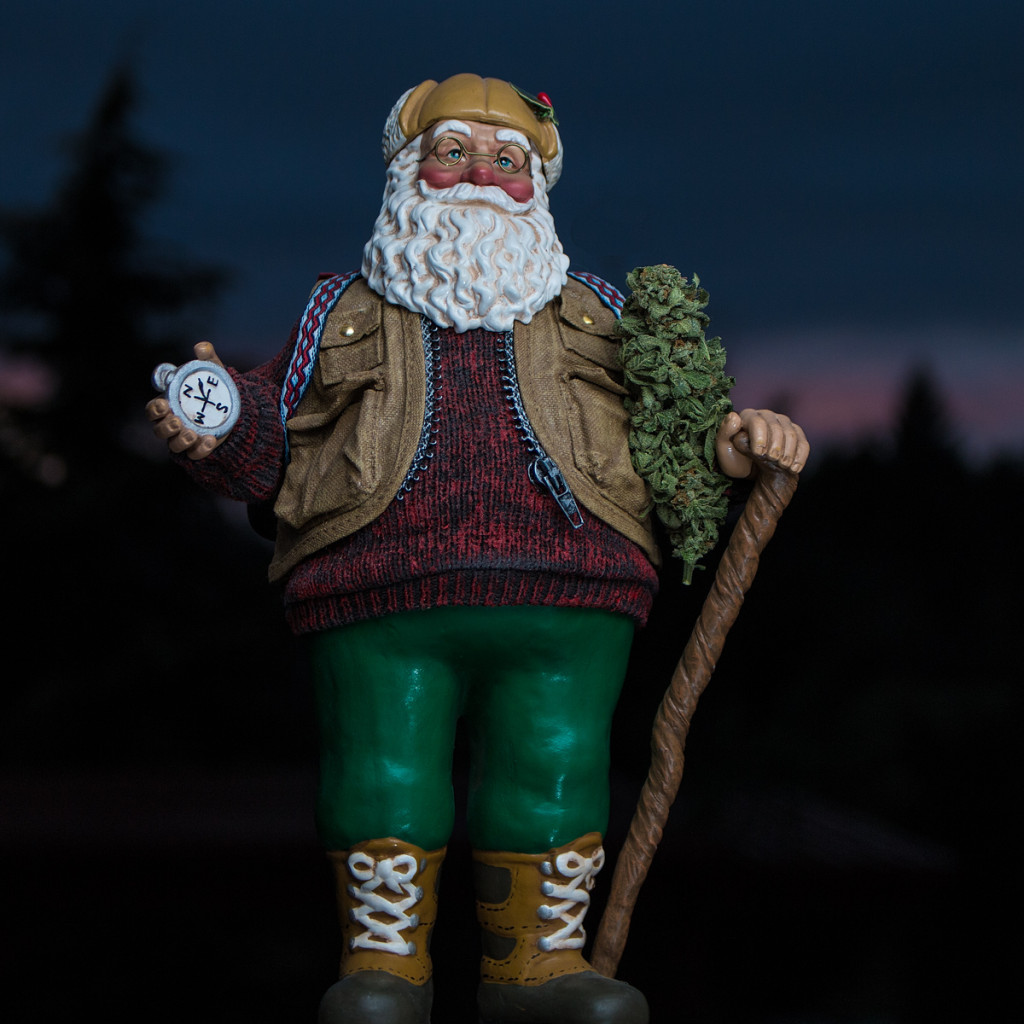 Santa hiking with giant nug